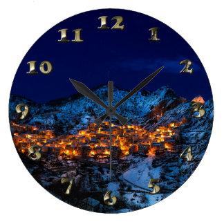 Castelmezzano, Italy - Snowy Winter Night Large Clock