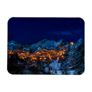 Castelmezzano, Italy - Snowy Winter Night Magnet