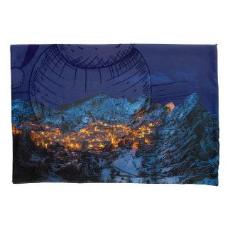 Castelmezzano, Italy - Snowy Winter Night Pillowcase