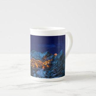 Castelmezzano, Italy - Snowy Winter Night Tea Cup
