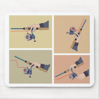 Casting spinning reel with spinning rod positions mouse pad