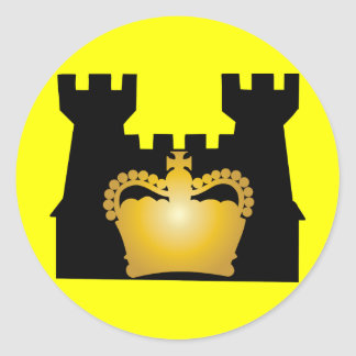 Castle and Crown - Royalty of Kings and Queens Round Sticker