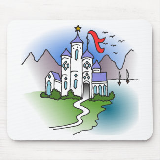 Castle and mountains mouse pad