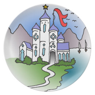 Castle and mountains plate