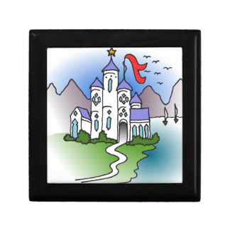 Castle and mountains small square gift box