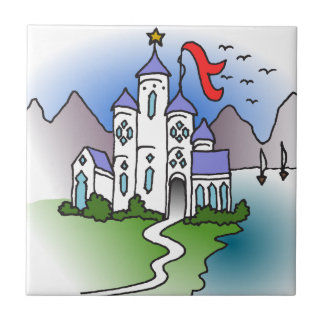 Castle and mountains small square tile