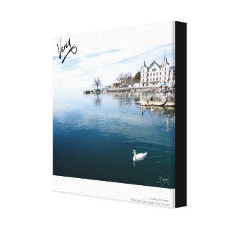 Castle and Swans Canvas Print