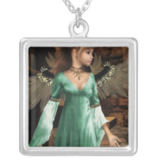 Castle Angel Silver Plated Necklace