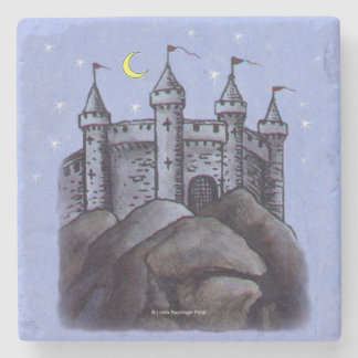 Castle at Night Stone Beverage Coaster