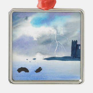 Castle By the Sea Metal Ornament