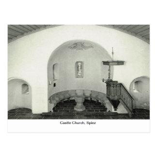Castle Church, Spiez, font and pulpit, Postcard