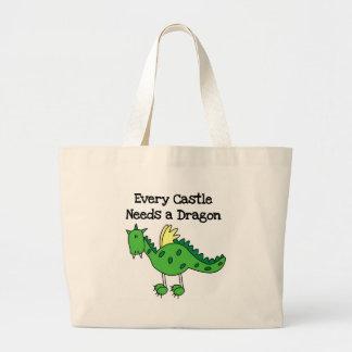 Castle Dragon Large Tote Bag