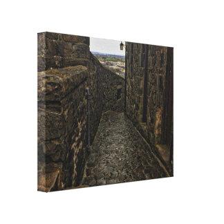 Castle Exterior Corridor Stretched Canvas Prints