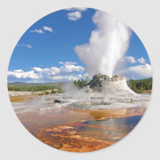 Castle Geyser Eruption Yellowstone National Park. Classic Round Sticker