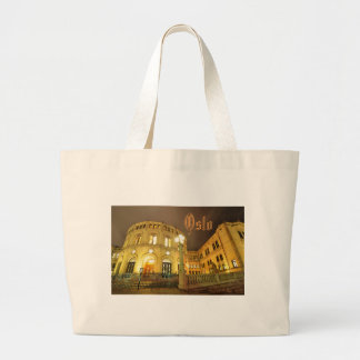 Castle in Oslo, Norway at night Large Tote Bag