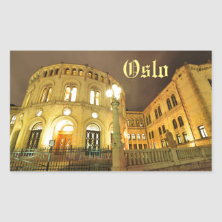 Castle in Oslo, Norway at night Rectangular Sticker
