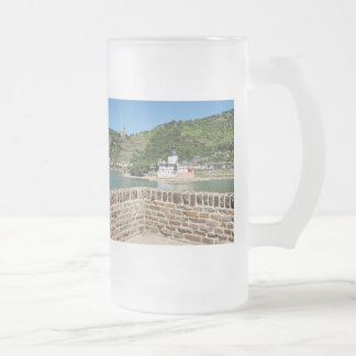 Castle Palatinat count stone with Kaub Frosted Glass Beer Mug