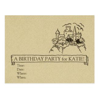 Castle Simple Child's Princess Banner Party Paper Postcard