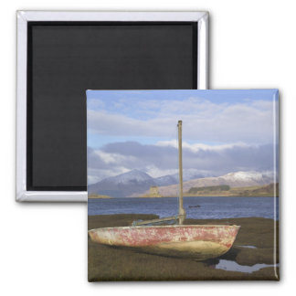 Castle Stalker with fishing boat in the Square Magnet