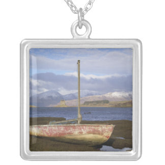 Castle Stalker with fishing boat in the Square Pendant Necklace