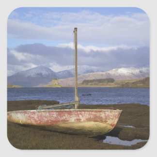 Castle Stalker with fishing boat in the Square Sticker