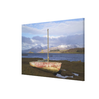 Castle Stalker with fishing boat in the Stretched Canvas Prints