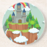Castle towers on the island drink coasters