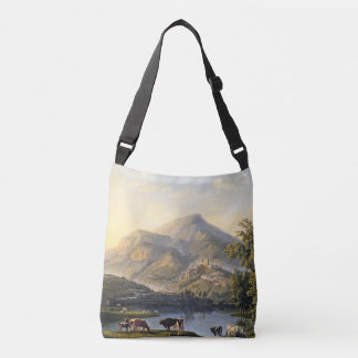 Castle Town Lake Mountains Europe Cows Tote Bag