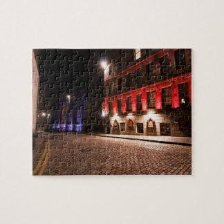 Castlehill Street Royal Mile at night Jigsaw Puzzle