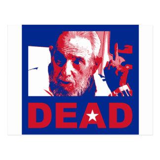 Castro dead (Cuban-flag colors) Postcard