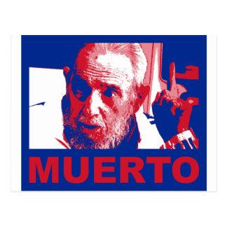 Castro muerto (colores de bandera cubana) postcard