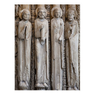 casts of statues from the facade of Chartres Postcard