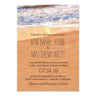 Casual Beach Wedding Gold Waves Card