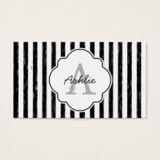 Casual Black Painted Stripes Monogram and Name Business Card