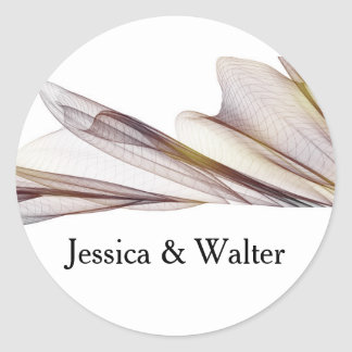 Casual Brown Sheer Fabric Wedding Stickers