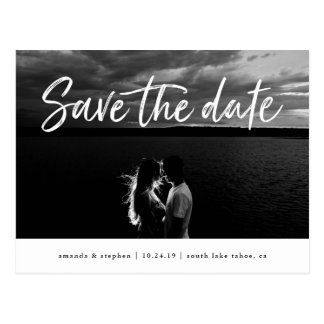 Casual Brush | Photo Save the Date Postcard