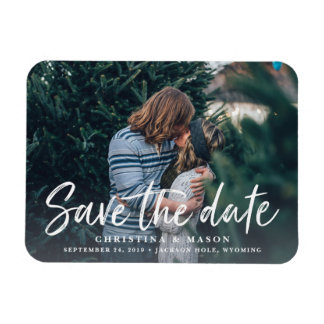 Casual Brush | Photo Save the Date Rectangular Photo Magnet