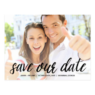 Casual Calligraphy | Photo Save the Date Postcard