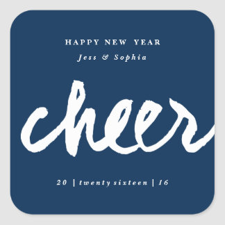 Casual cheer New Year gift tag sticker