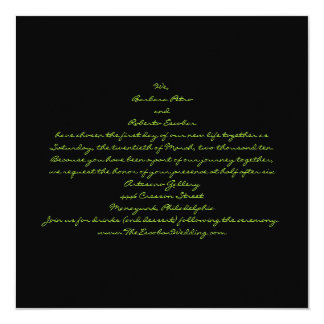 Casual contemporary black and green leaves 13 cm x 13 cm square invitation card