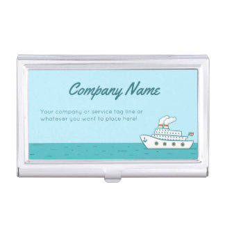 Casual Cruise Ship with Twin Smoking Stacks Business Card Holder