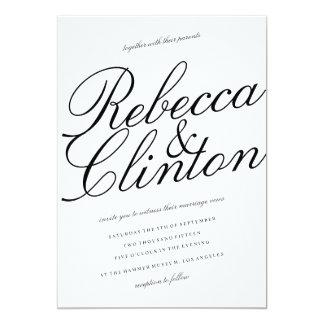 Casual Elegance Black Script White Wedding 13 Cm X 18 Cm Invitation Card