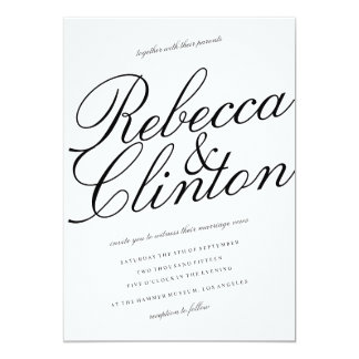 Casual Elegance Black Script White Wedding Card