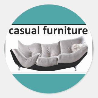 Casual furniture, very casual round sticker