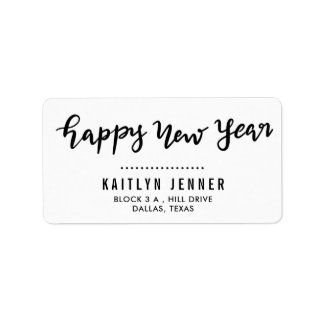 Casual Happy New Year Handwritten Holiday Label