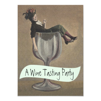 Casual Lady Wine Glass Tasting Party Invitations