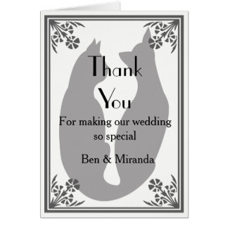 Casual, Modern , Elegant Two Cats Thank You Card