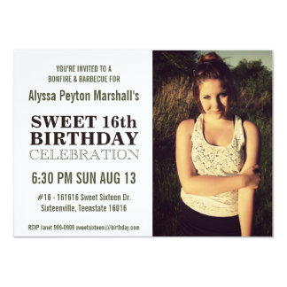 "Casual Nature Portrait Photo Sweet 16 Party 4.5"" X 6.25"" Invitation Card"