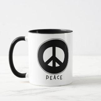 Casual Peace Sign Black Mug