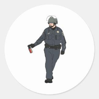 Casual Pepper Spray Cop in Color Round Sticker